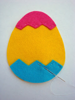 Step 2 - sew felt pieces together for your Felt Easter Egg