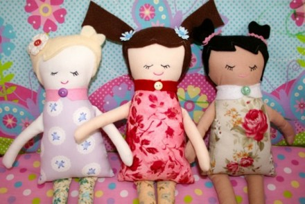 Handmade Rag Dolls 5 Minutes with Floral & Plaid