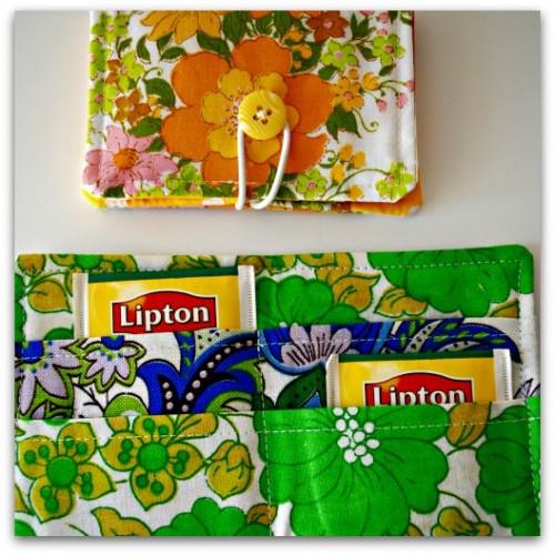 Tea Wallet in vintage and repurposed fabrics