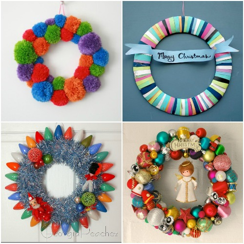 christmaswreaths Four DIY Colourful Christmas Wreaths