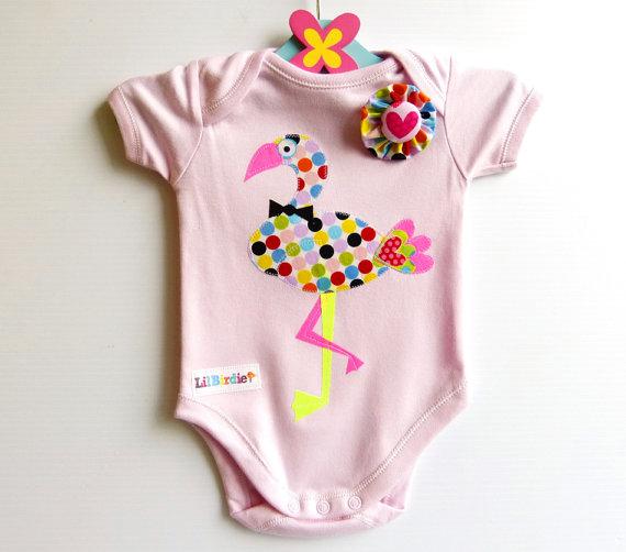 Lil Birdie- Funky Polka Dot Flamingo Baby Bodysuit