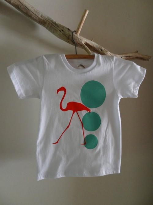 Red Flamingo Prints- Red Flamingo Walking Hand Screen Printed Organic Cotton White Children's T-shirt