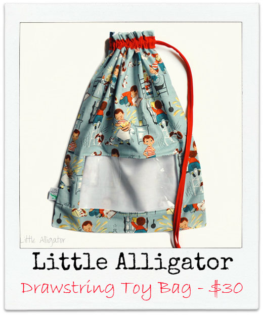 Little-Alligator Handmade Drawstring Toy Bag