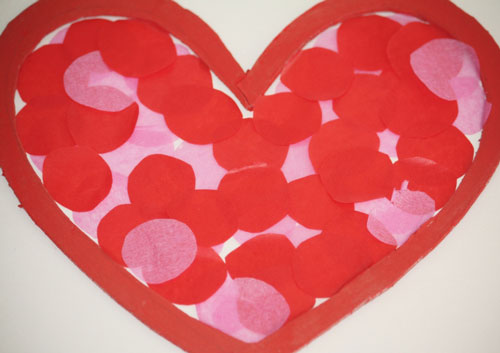 tissue paper circles  Kids Craft: Valentines Day Stained Glass Hearts