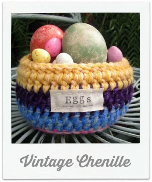 Vintage Chenille Crochet Egg basket