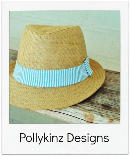 Pollykinz-Designs Aqua Stripe Fedora Hat