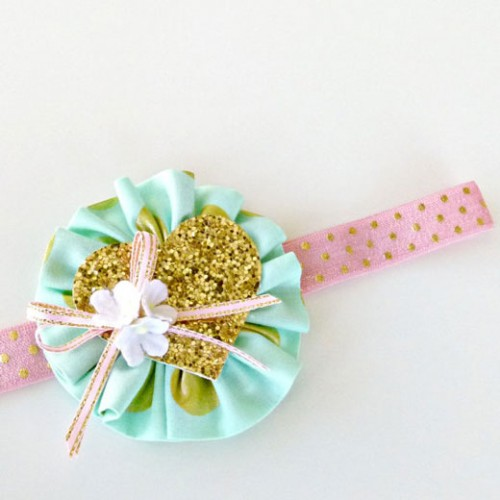 Ruffle Bloom Headband Glitz Mint Headband