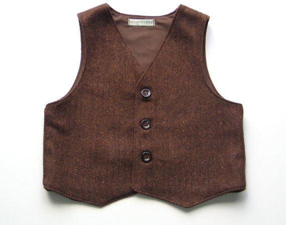 Boys herringbone wool vest waistcoat