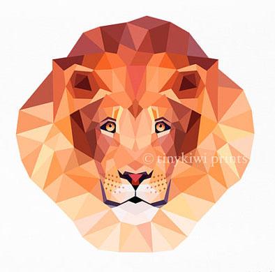 Geometric Lion Print