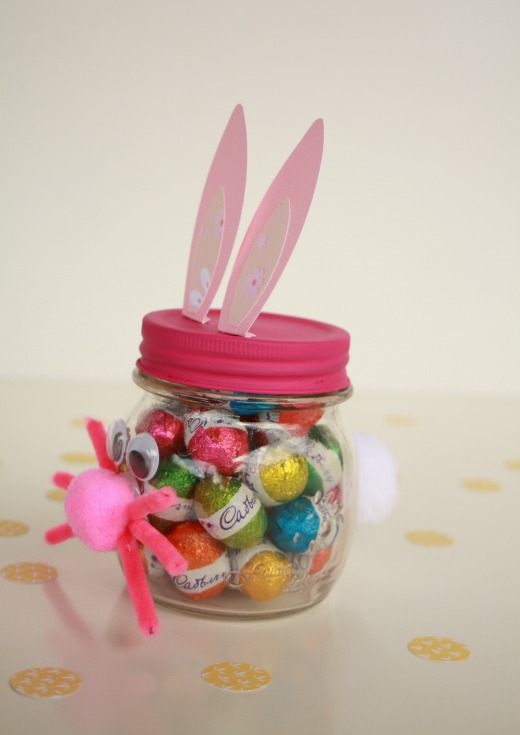 Make an easter bunny gift jar handmade kidshandmade kids easter bunny gift jar side view negle Choice Image
