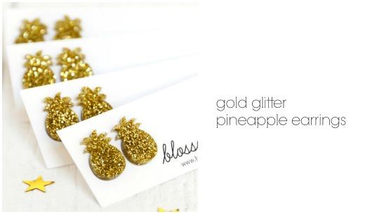 Gold Glitter Pineapple Earrings