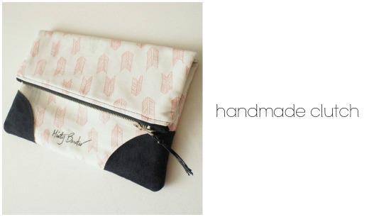 Handmade arrow fabric clutch