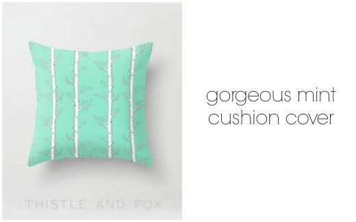 Mint handmade cushion cover