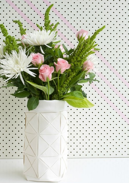 DIY FAUX LEATHER GEOMETRIC VASE