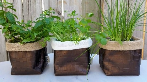 Hessian and faux leather herb fabric pots