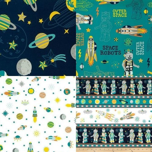 Fabric supply spaceships and robots handmade for Space themed fabric