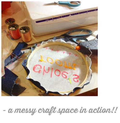 A messy craft space in action