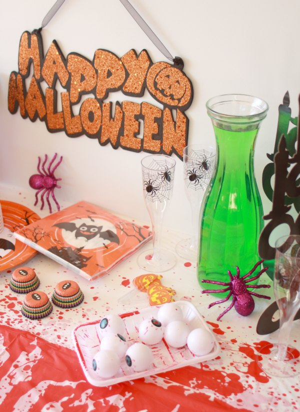 Party Table setup for Halloween