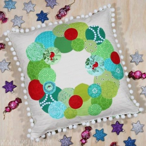 Christmas Bauble Wreath Cushion by Gnome Angel