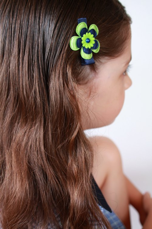Navy and Lime handmade hair clips