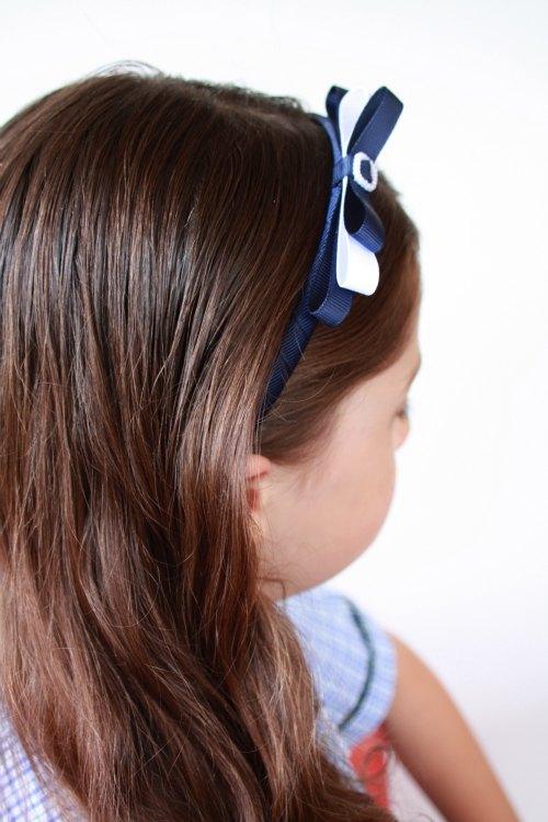 Navy and White Handmade Headband