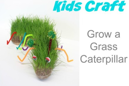 Kids Craft Grow a Grass Caterpillar
