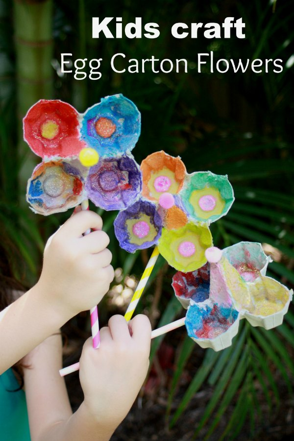Kids craft egg carton flowers handmade kidshandmade kids Egg carton flowers ideas