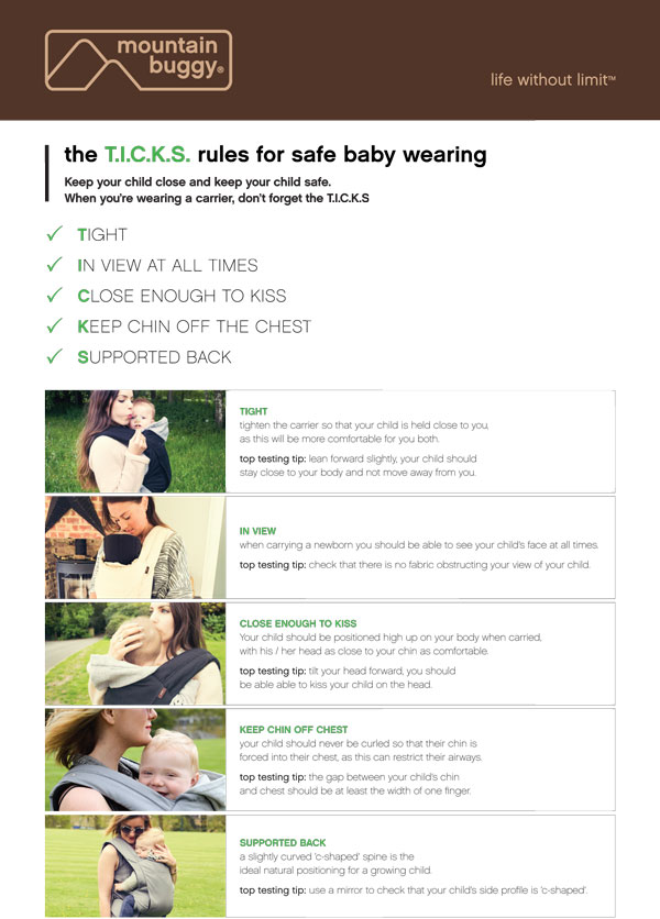 Rules for safe baby wearing