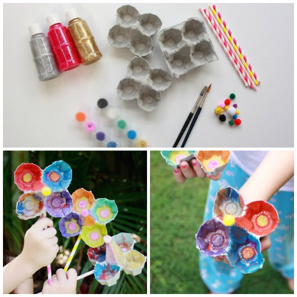 egg carton flowers kids craft