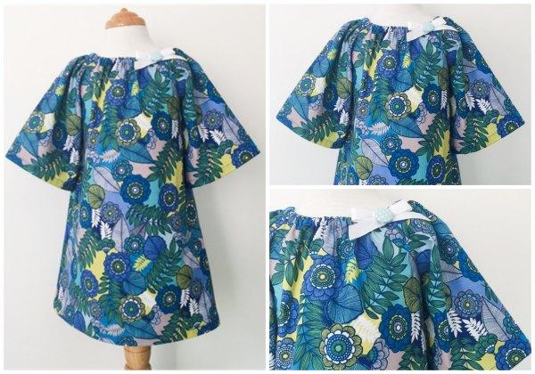 handmade Retro Blue Floral Smock
