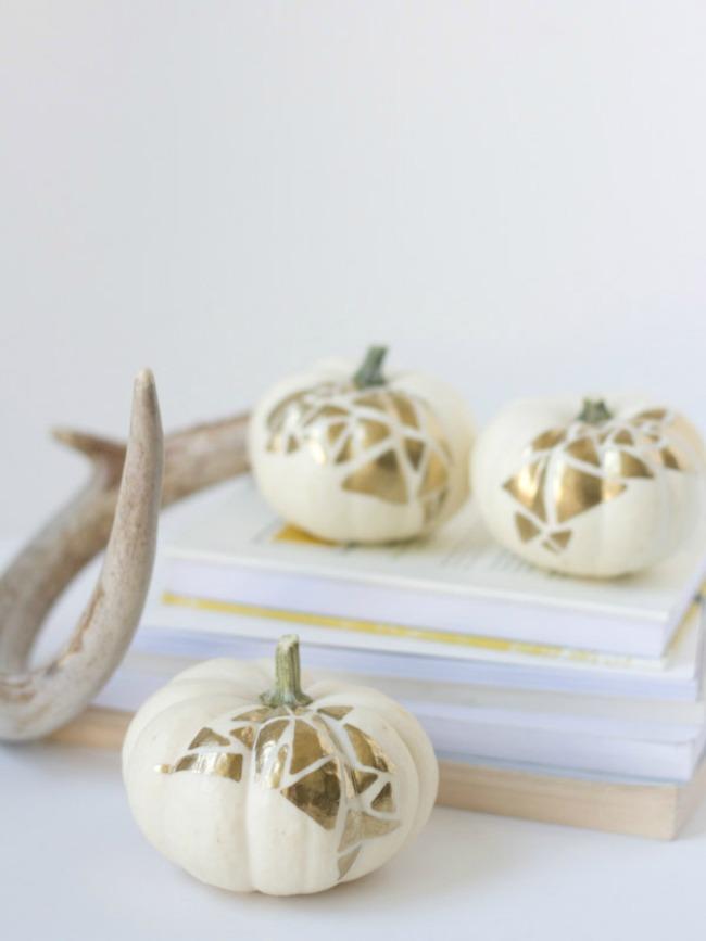 DIY Gold Geo No-Carve Pumpkins