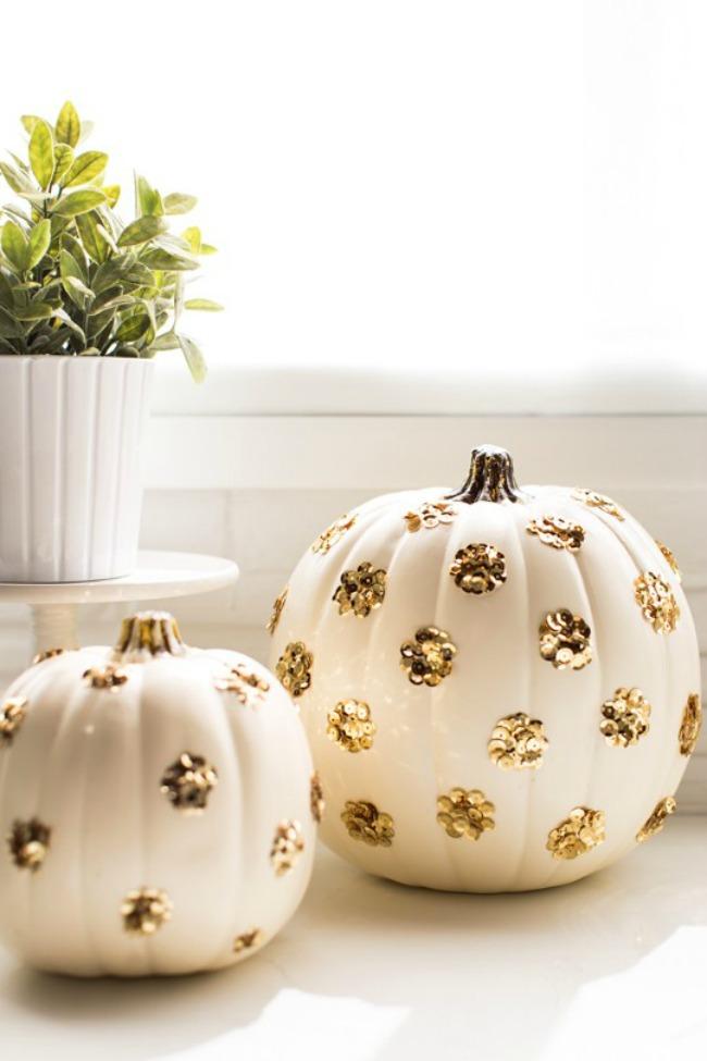 DIY Sequin polka dot pumpkins
