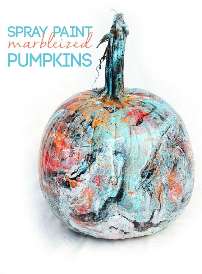 DIY marbled pumpkin